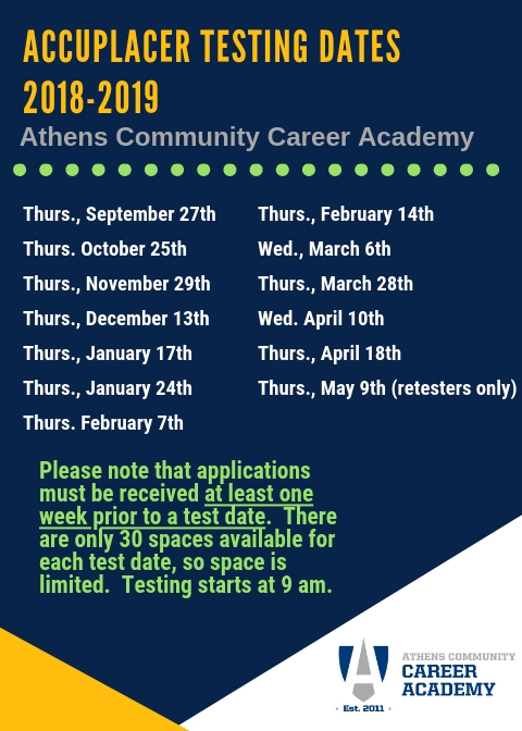 Application Information / ACCUPLACER Testing Dates for 2018-2019