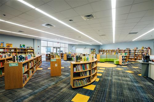 Library with bookshelves