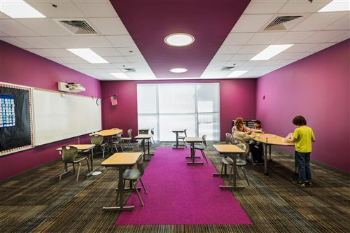Classroom with purple walls